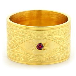 """Enduring Love"" Vintage Engraved 18k Yellow Gold Ruby Ring"