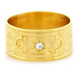 """Aphrodite's Flower"" Vintage Engraved 18k Yellow Gold Diamond Ring"