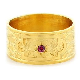 """Aphrodite's Flower"" Vintage Engraved 18k Yellow Gold Ruby Ring"