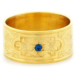 """Aphrodite's Flower"" Vintage Engraved 18k Yellow Gold Sapphire Ring"