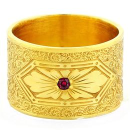 """Love At First Sight"" Vintage Engraved 18k Yellow Gold Ruby Ring"