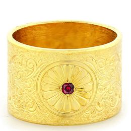 """Loyal Love"" Vintage Engraved 18k Yellow Gold Ruby Ring"