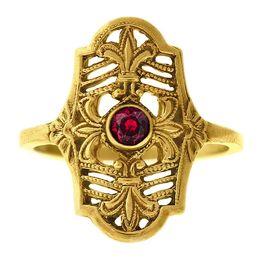 """""""Parisian Nights"""" Vintage 18k Yellow Gold Filigree Ruby Cigar Band Ring"""