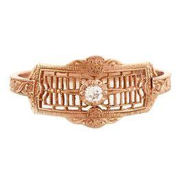 """Timeless Romance"" Vintage 14k Rose Gold Filigree Diamond Cigar Band Ring"
