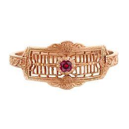 """Timeless Romance"" Vintage 14k Rose Gold Filigree Ruby Cigar Band Ring"