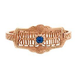 """Timeless Romance"" Vintage 14k Rose Gold Filigree Sapphire Cigar Band Ring"