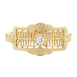 """Timeless Romance"" Vintage 18k Yellow Gold Filigree Diamond Cigar Band Ring"