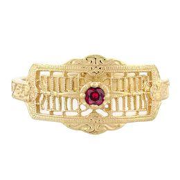 """Timeless Romance"" Vintage 18k Yellow Gold Filigree Ruby Cigar Band Ring"