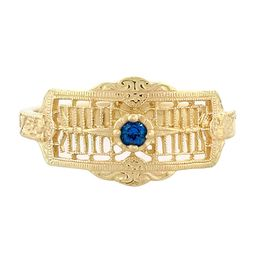 """Timeless Romance"" Vintage 18k Yellow Gold Filigree Sapphire Cigar Band Ring"