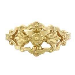 """""""Honor and Devotion"""" Vintage 18k Yellow Gold Filigree Cigar Band Ring"""