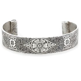 """""""Passionate Love"""" Women's Sterling Silver Wide Cuff Bracelet with Rubies"""