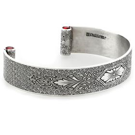 """""""Love At First Sight"""" Women's Sterling Silver Wide Cuff Bracelet with Rubies"""