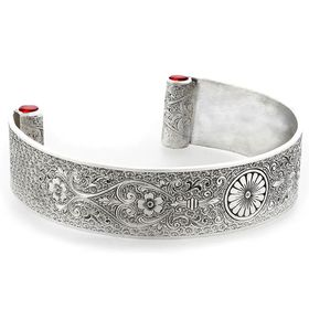 """Loyal Love"" Women's Sterling Silver Wide Cuff Bracelet with Rubies"