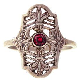 """Parisian Nights"" Vintage 14k White Gold Filigree Ruby Cigar Band Ring"