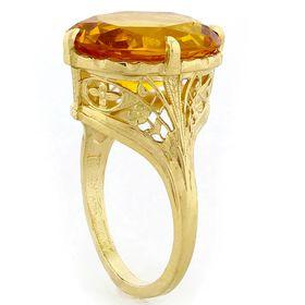 """Summers Sun"" 18k Yellow Gold Vintage Filigree Citrine Ring"