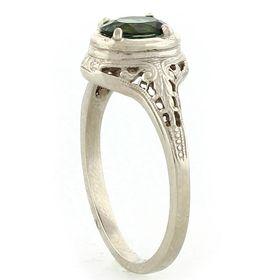 """Harmony and Balance"" 14k White Gold Vintage Filigree Tourmaline Ring"