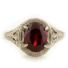 """Love and Protection"" 14k White Gold Vintage Filigree Garnet Ring"