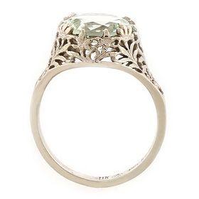 """Prosperity"" 14k White Gold Vintage Filigree Green Quartz Ring"