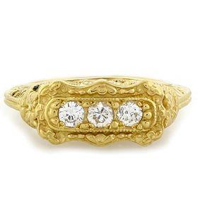 """Love Me"" 18k Yellow Gold Vintage Filigree Diamond Ring"