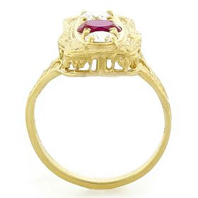 """""""Perfect Love"""" 18K Yellow Gold Diamond and Ruby Vintage Filigree Ring"""