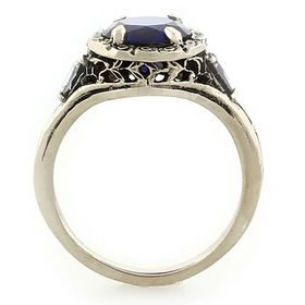 """""""Trust, Loyalty and Love"""" 14k White Gold Vintage Filigree Sapphire and Diamond Ring"""