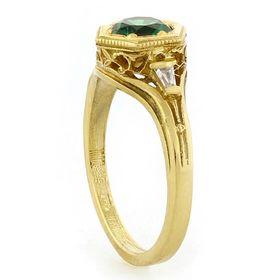"""Optimistic Faith"" 18k Yellow Gold Vintage Filigree Emerald and Diamond Ring"