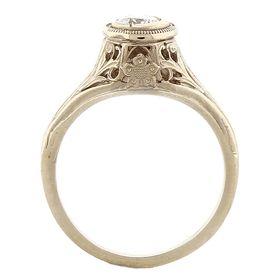 """""""Cherry Blossom"""" 14k White Gold Vintage Diamond Filigree Engagement Ring"""