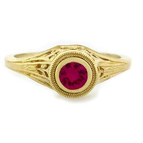 """Poignant Love"" 18k Yellow Gold Vintage Filigree Ruby Ring"