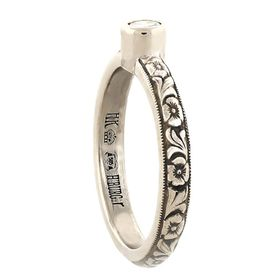 """Strength & Devotion"" 14k White Gold Vintage Diamond Engagement Ring"