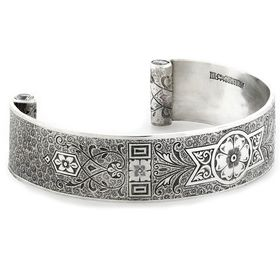"""Love and Regard"" Women's Sterling Silver Wide Cuff Bracelet with Diamonds"