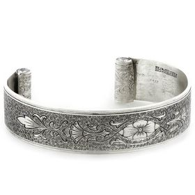 """""""Enduring Love"""" Women's Sterling Silver Wide Cuff Bracelet with Diamonds"""
