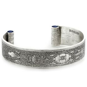 """""""Enduring Love"""" Women's Sterling Silver Wide Cuff Bracelet with Sapphires"""