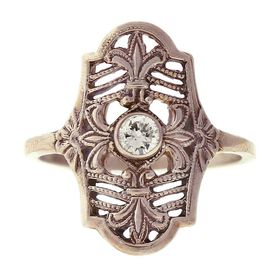 """Parisian Nights"" Vintage 14k White Gold Filigree Diamond Cigar Band Ring"