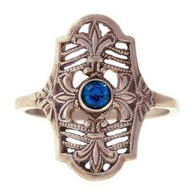 """Parisian Nights"" Vintage 14k White Gold Filigree Sapphire Cigar Band Ring"
