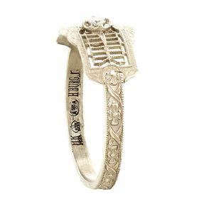 """Timeless Romance"" Vintage 14k White Gold Filigree Ruby Cigar Band Ring"