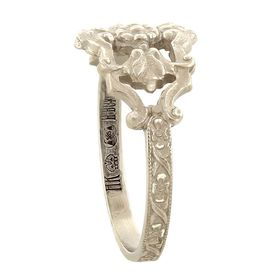 """Honor and Devotion"" Vintage 14k White Gold Filigree Cigar Band Ring"