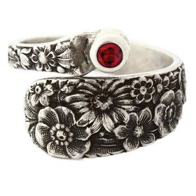 """""""Posey"""" Vintage Sterling Silver Spoon Ring With Ruby"""