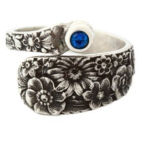 """""""Posey"""" Vintage Sterling Silver Spoon Ring With Sapphire"""