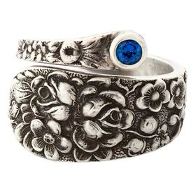 """""""Rose"""" Vintage Sterling Silver Spoon Ring With Sapphire"""