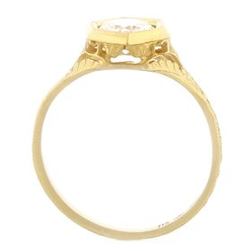 """Four Tulips"" 18k Yellow Gold Vintage Diamond Filigree Engagement Ring"
