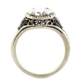 """Trust, Loyalty and Love"" 14k White Gold Three Diamond Vintage Filigree Engagement Ring"