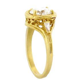 """Trust, Loyalty and Love"" 18k Yellow Gold Three Diamond Vintage Filigree Engagement Ring"