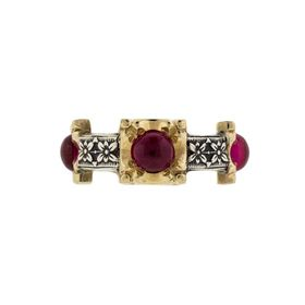 Die Struck 14k Yellow Gold & Sterling Silver HUGO KOHL Ring Set with four Lab Ruby Cabochons