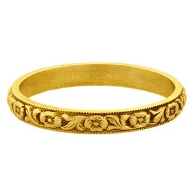 """""""Devotion"""" Vintage 18k Yellow Gold Stacking Ring"""