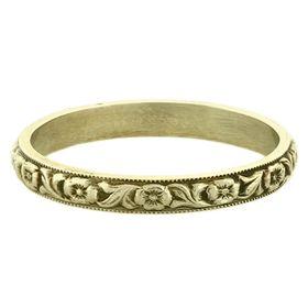 """""""Devotion"""" Vintage 14k Green Gold Stacking Ring"""