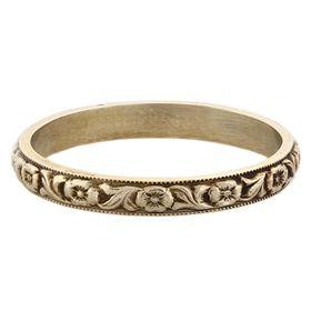 """Devotion"" Vintage 14k White Gold Stacking Ring"